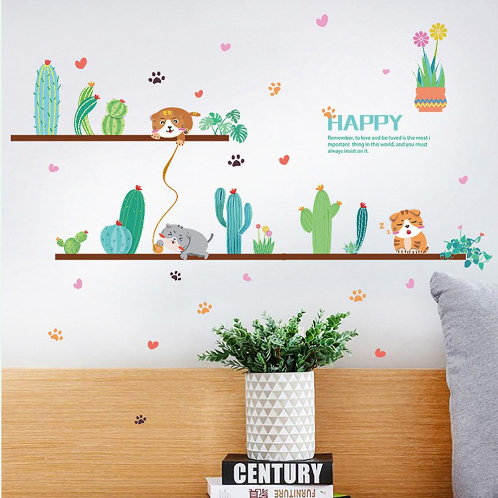 時尚壁貼 -小清新貓與仙人掌