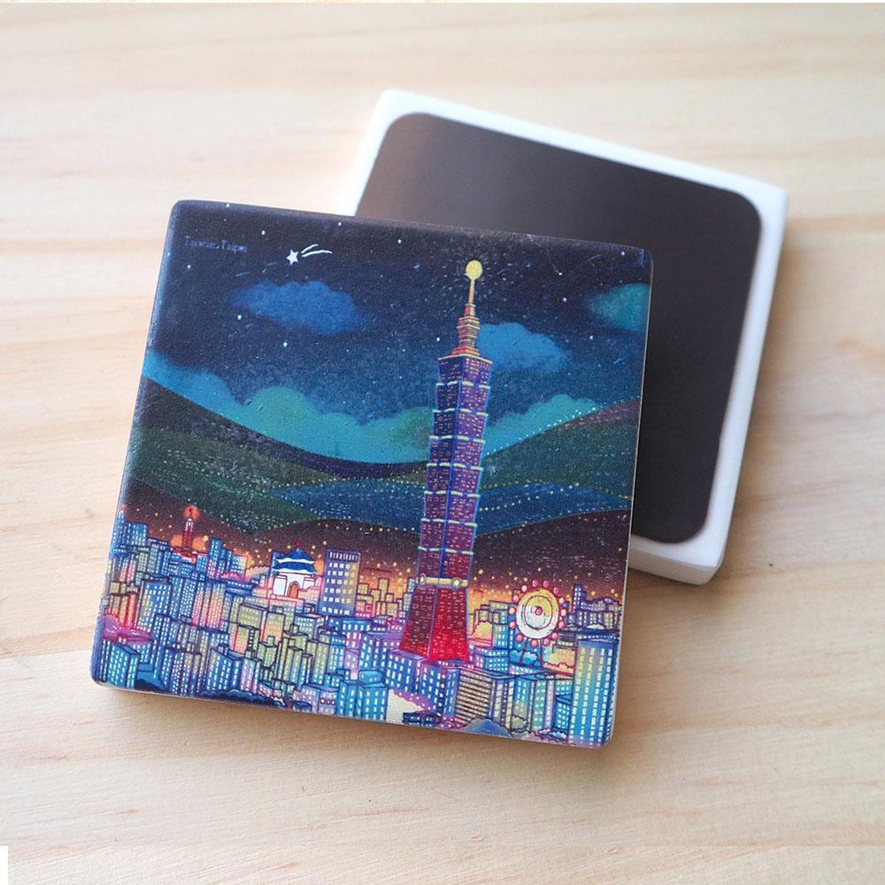 JB Design_杯墊方磁鐵-160_台北夜晚