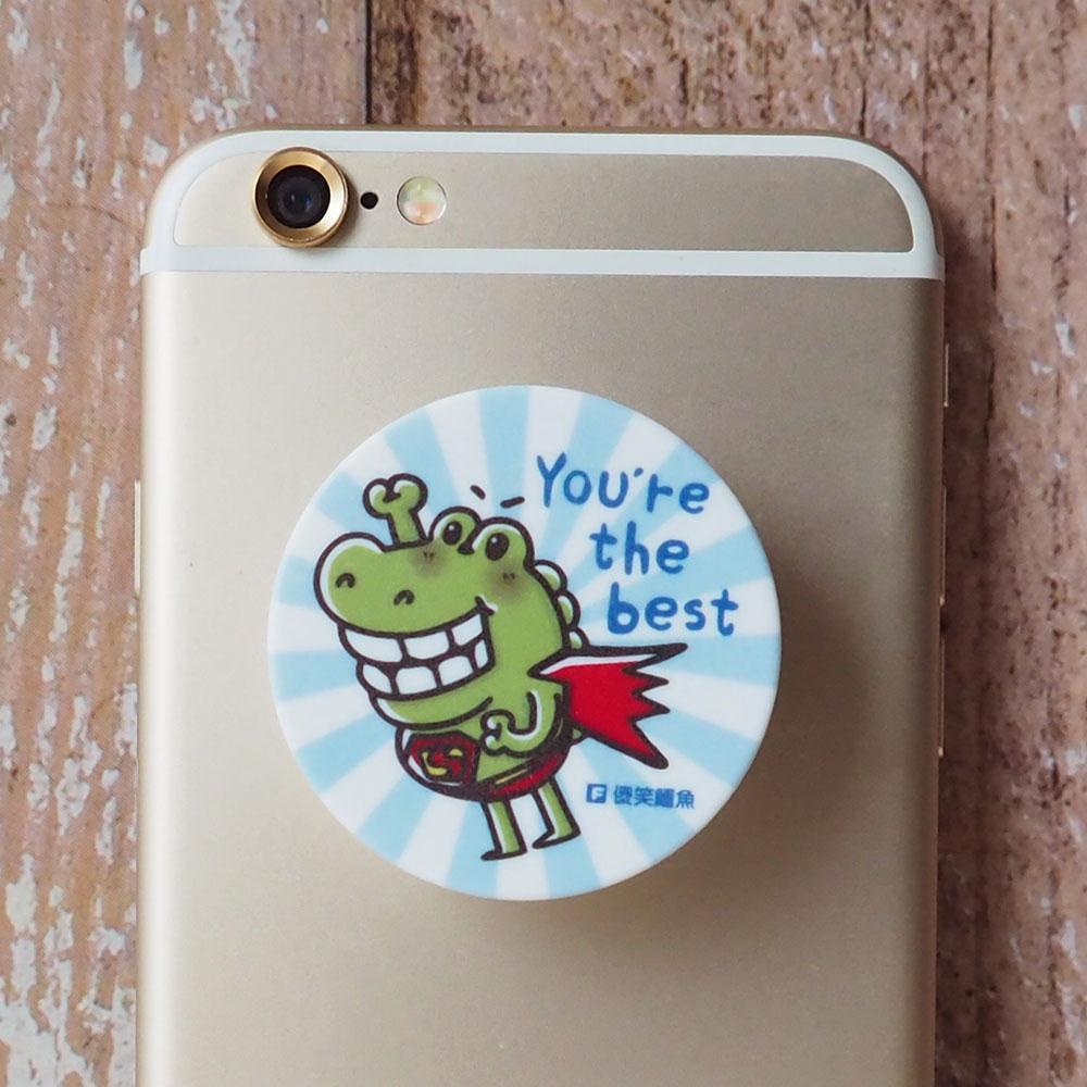 傻笑鱷魚-摺疊手機架-超人鱷魚