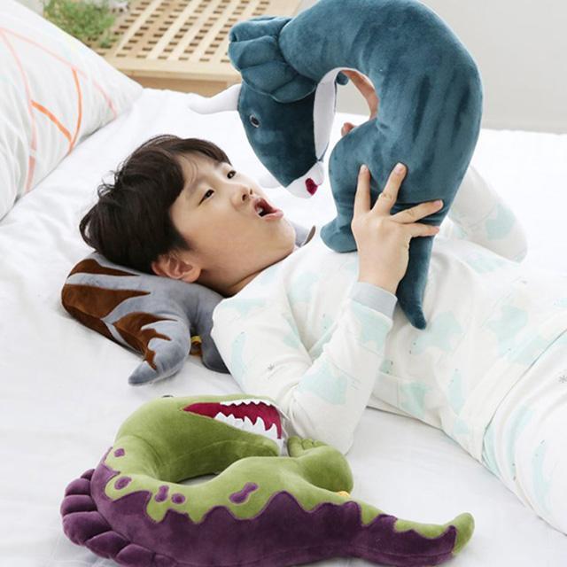 韓國 恐龍造型枕-藍色三角龍