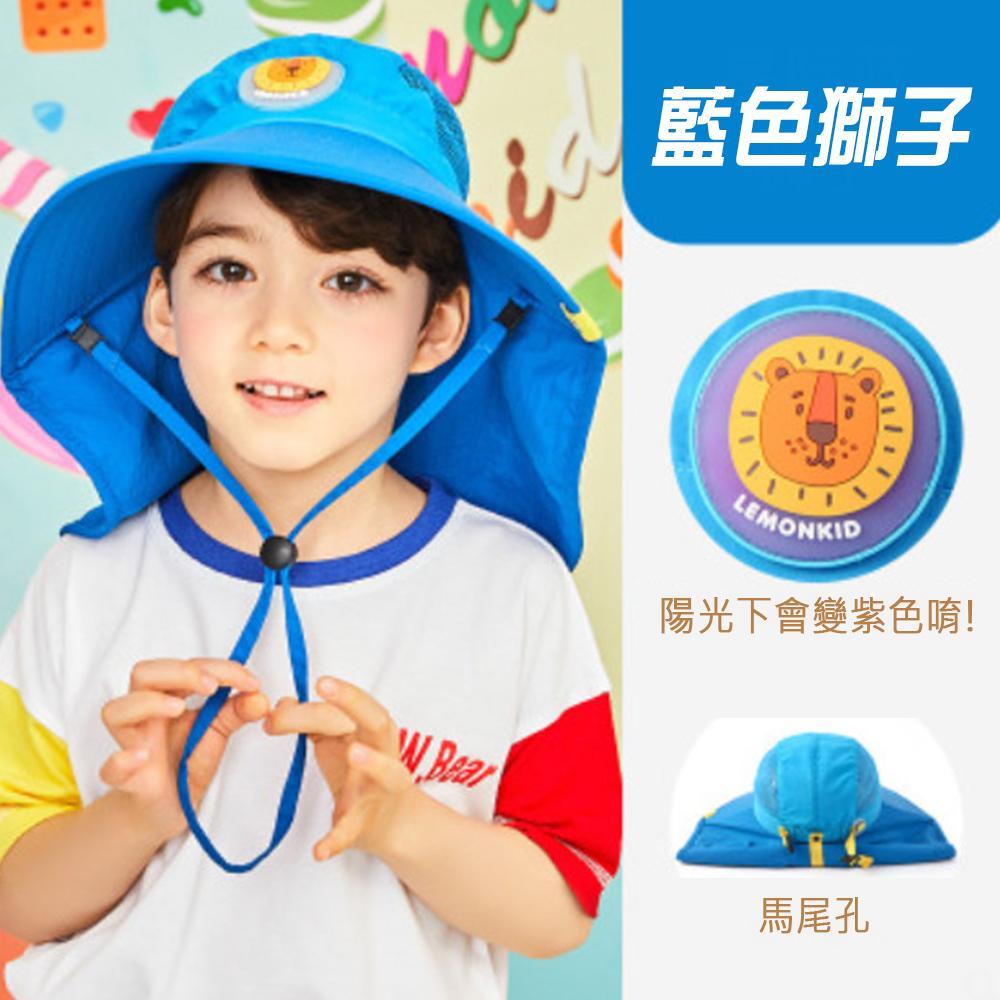韓國品牌-遮陽帽 藍色獅子