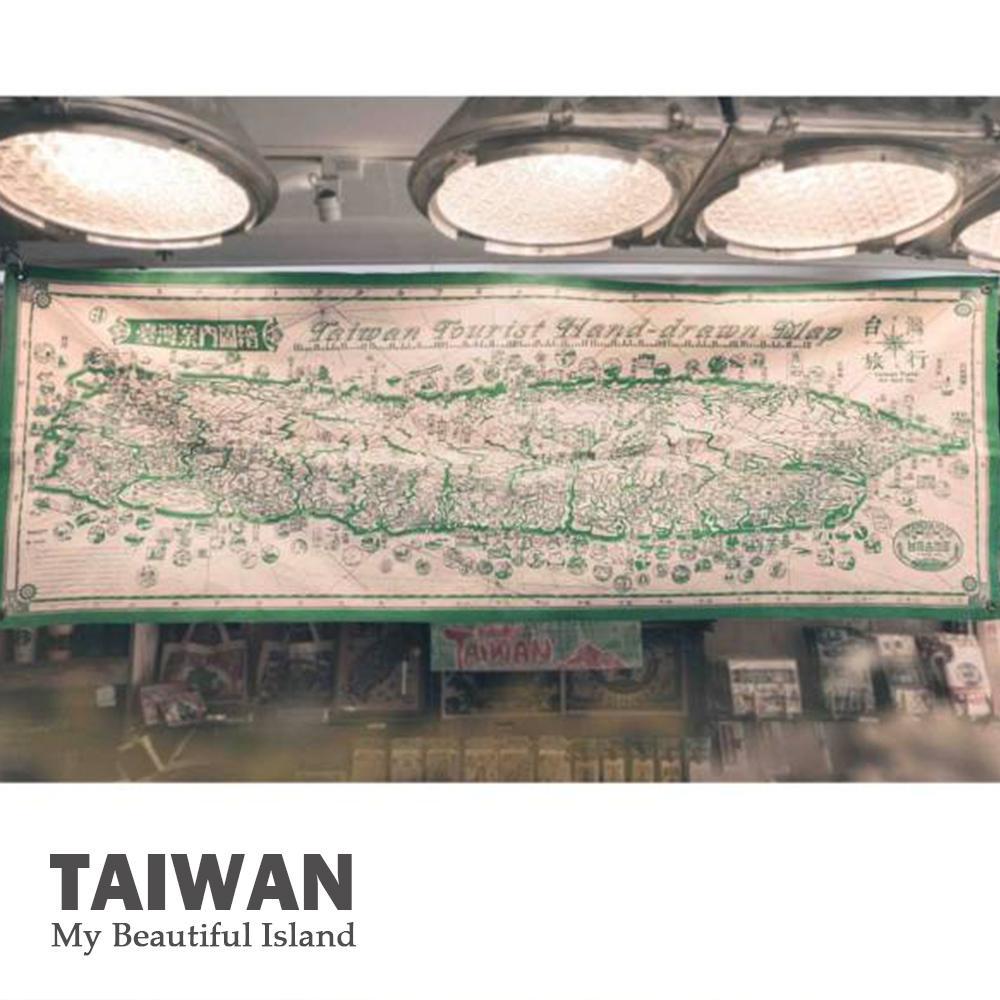 台灣文創布地圖-臺灣案內圖繪【綠色】