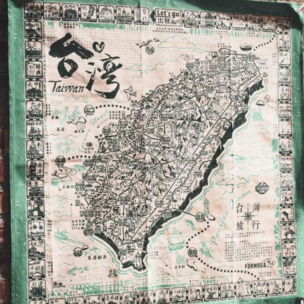 台灣文創布地圖-環島旅行布地圖【綠色】