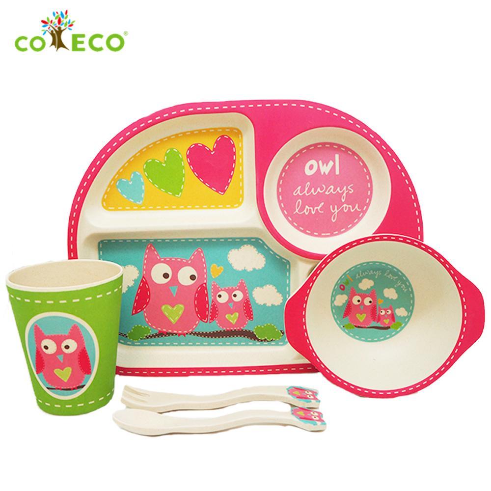 coeco竹纖維兒童經典五件組-粉紅貓頭鷹款