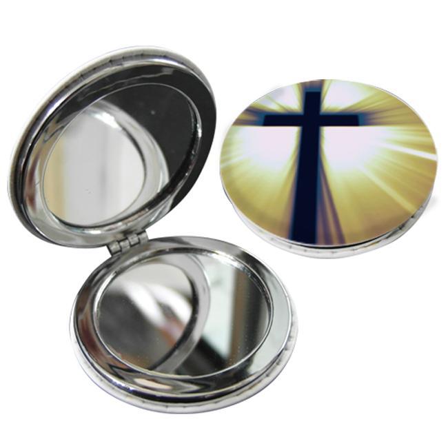 教會系列_PU隨身鏡(圓)_黃底黑十字