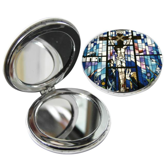 教會系列_PU隨身鏡(圓)_馬賽克十字架