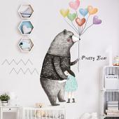 時尚壁貼-彩虹氣球大號熊