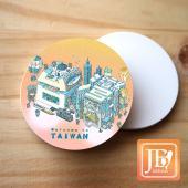 JB Design_圓杯墊磁鐵-696_粉台灣文字