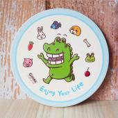 傻笑鱷魚-陶瓷吸水杯墊 -享受人生