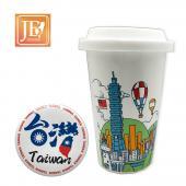 JB Design 我愛台灣!台灣天空 陶瓷杯+胸章 超值組