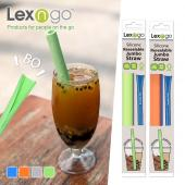 Lexngo 可拆洗折疊吸管 (珍珠款-二入一組)-綠灰色