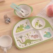 CleverTree竹纖維動物造型兒童餐具五件組 綠色恐龍