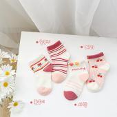 夏季女童襪(四入一組)1026櫻桃小點心