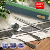 抗菌不鏽鋼餐具組(含帆布筷袋)-綠灰