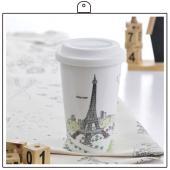 法國 巴黎鐵塔杯子+杯墊組合