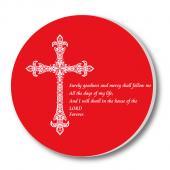 教會系列_陶瓷吸水杯墊_紅底白十字