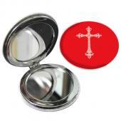 教會系列_PU隨身鏡(圓)_紅底白十字